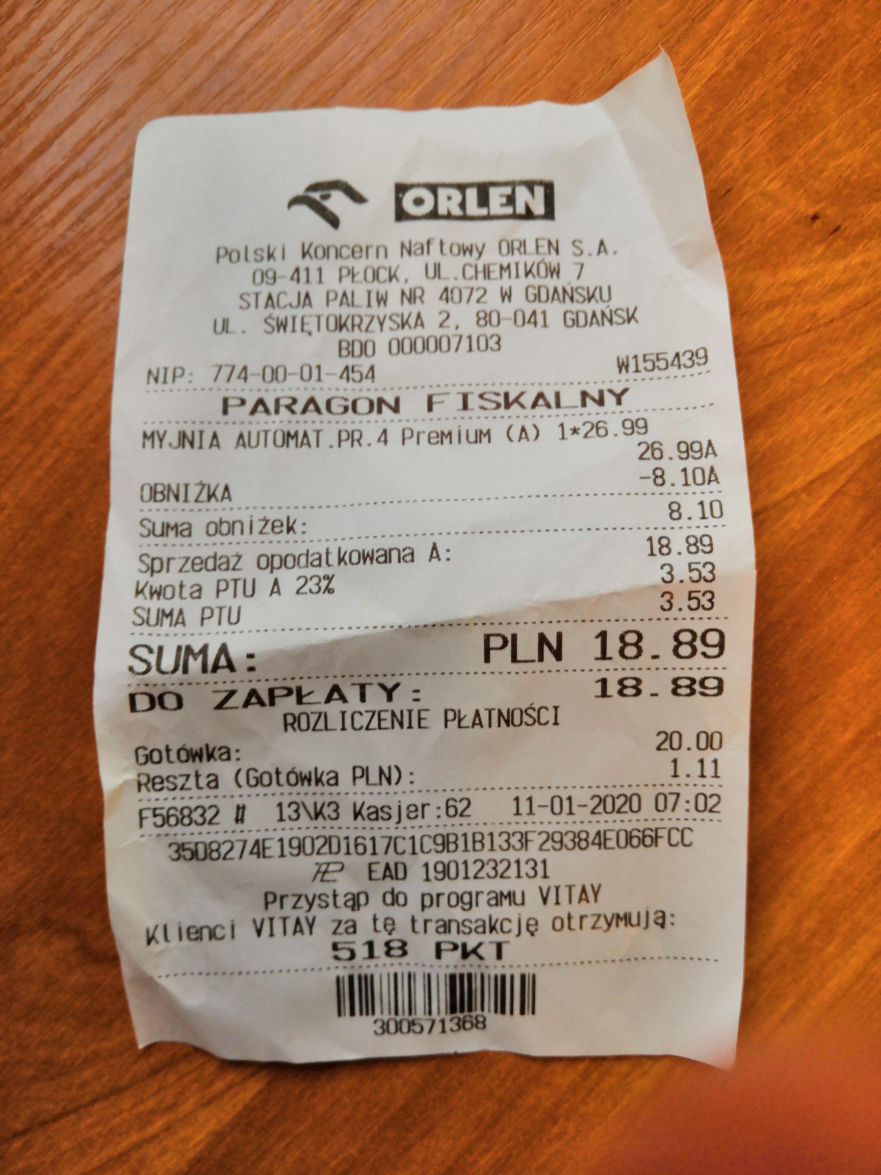 Myjnia Automatyczna Orlen -30% na program 4 i 5