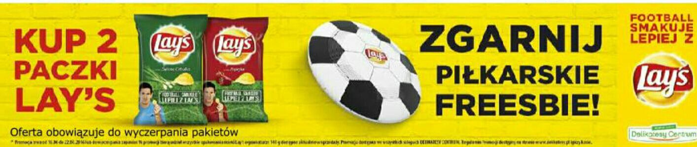 Piłkarskie Freesbie gratis przy zakupie 2 paczek Lay's - Delikatesy Centrum