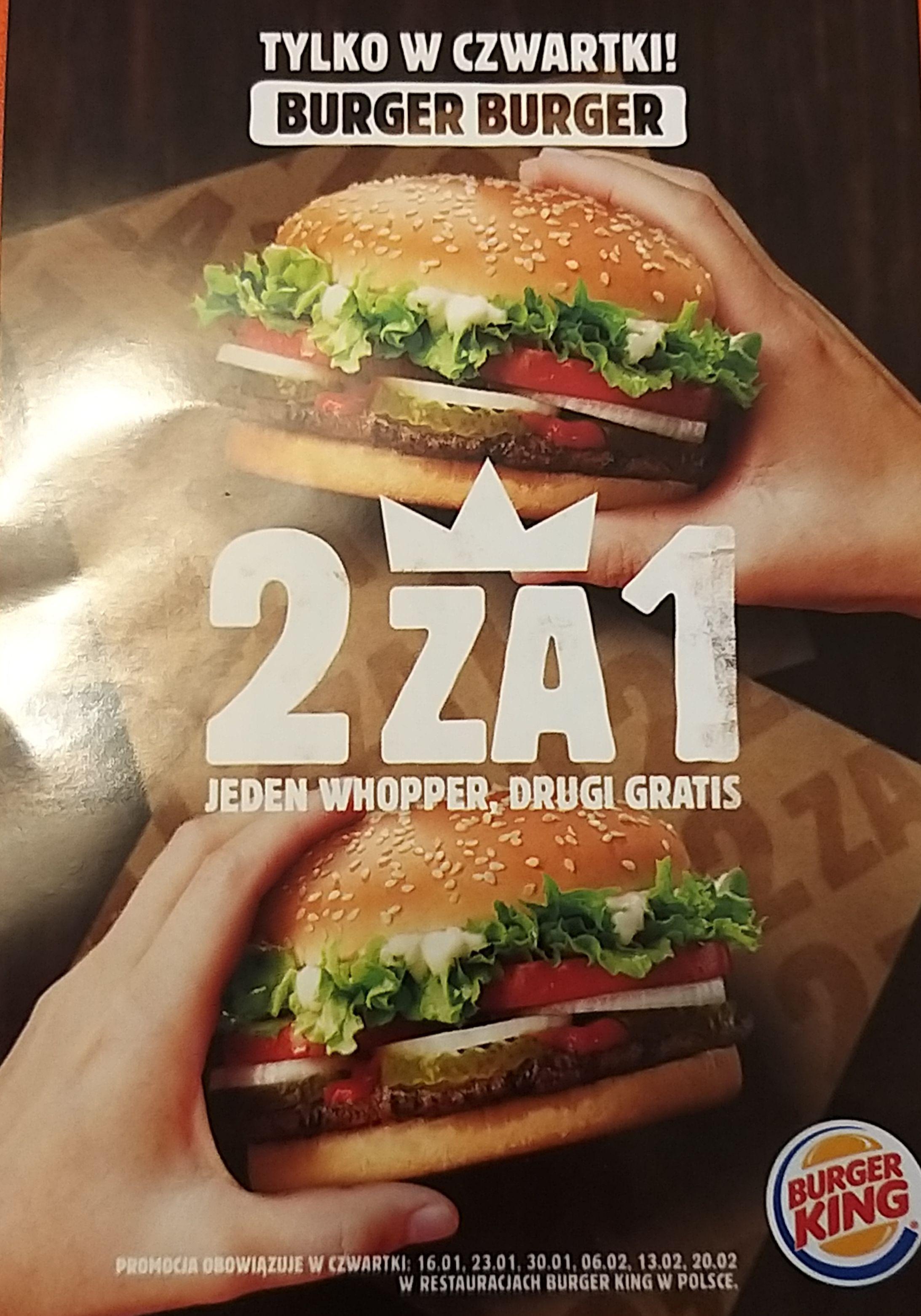 Burger King w czwartek 2za1