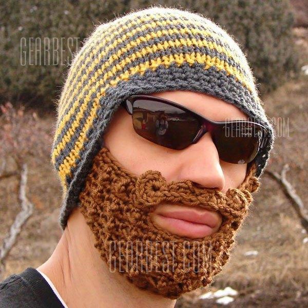 Zabawna wełniana czapka ze sztuczną brodą  za 37,11zł @ GearBest