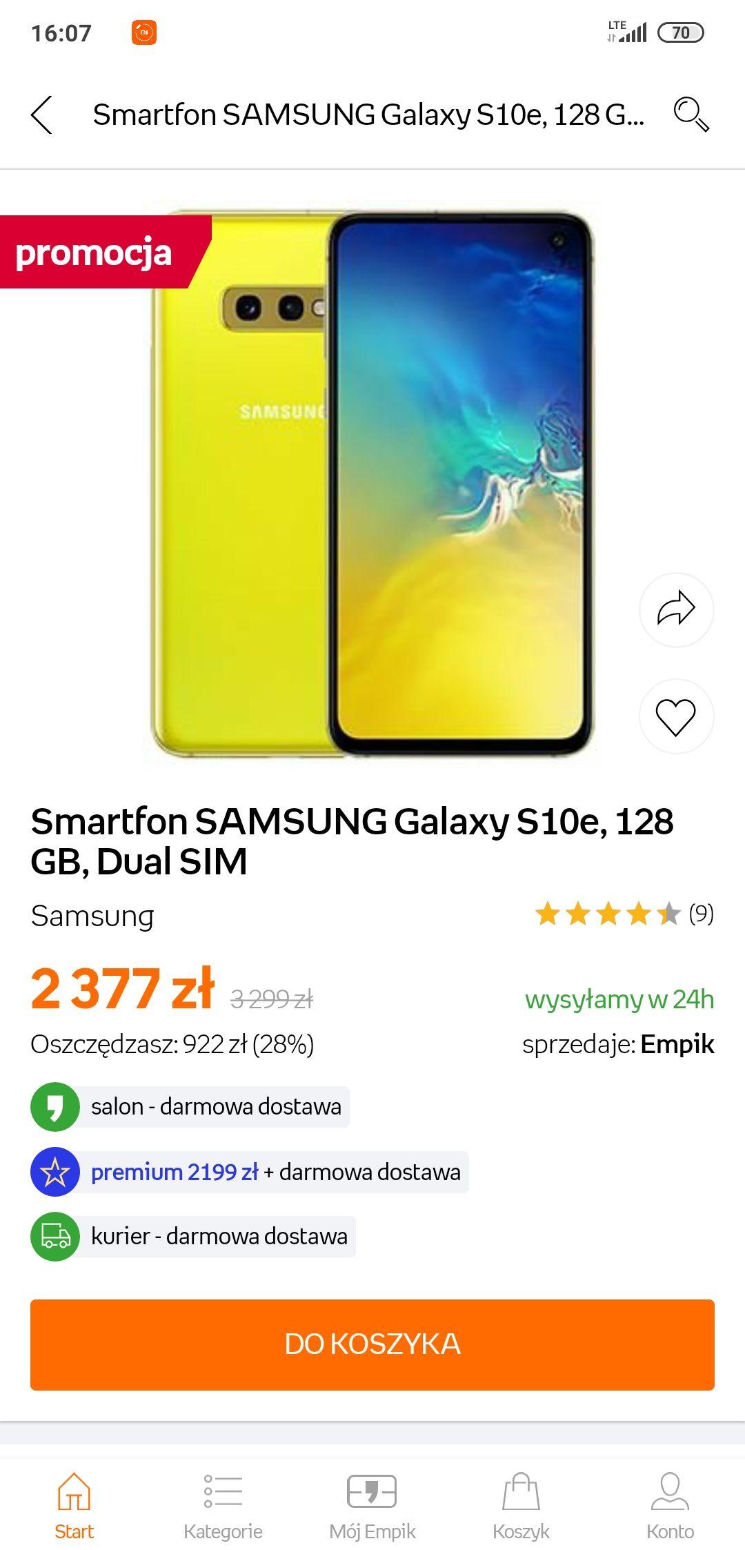 Samsung Galaxy s10e 128GB Empik ( 2199zł z premium)