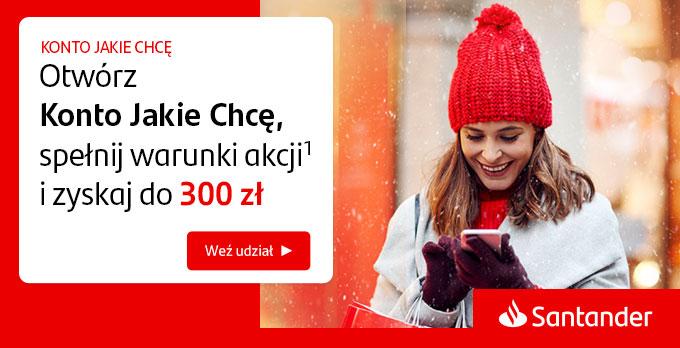 Santander Bank - 300 zł premii + do 530 zł premii w pozostałych promocjach