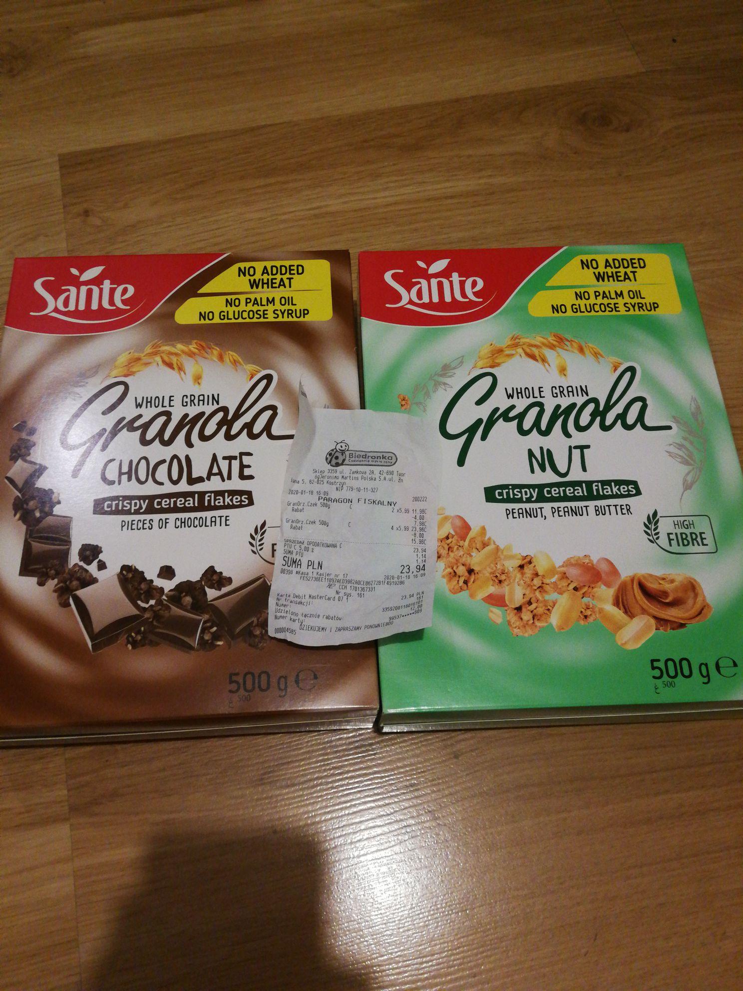 Granola Sante Biedronka 500 g za 3.99