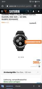 Garmin Fenix 5 plus srebrny (saturn.de)389€