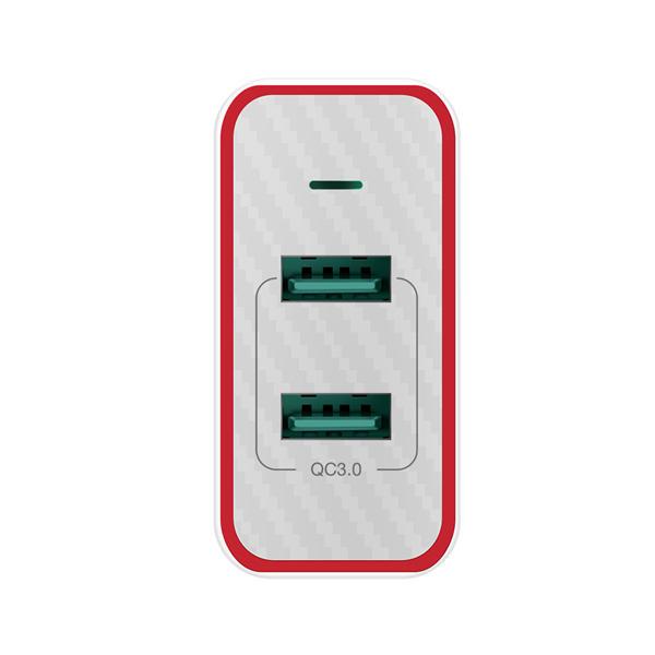 BlitzWolf® BW-PL3 36W QC3.0 Dual Ports USB Charger plus kabel 1m microUSB flat