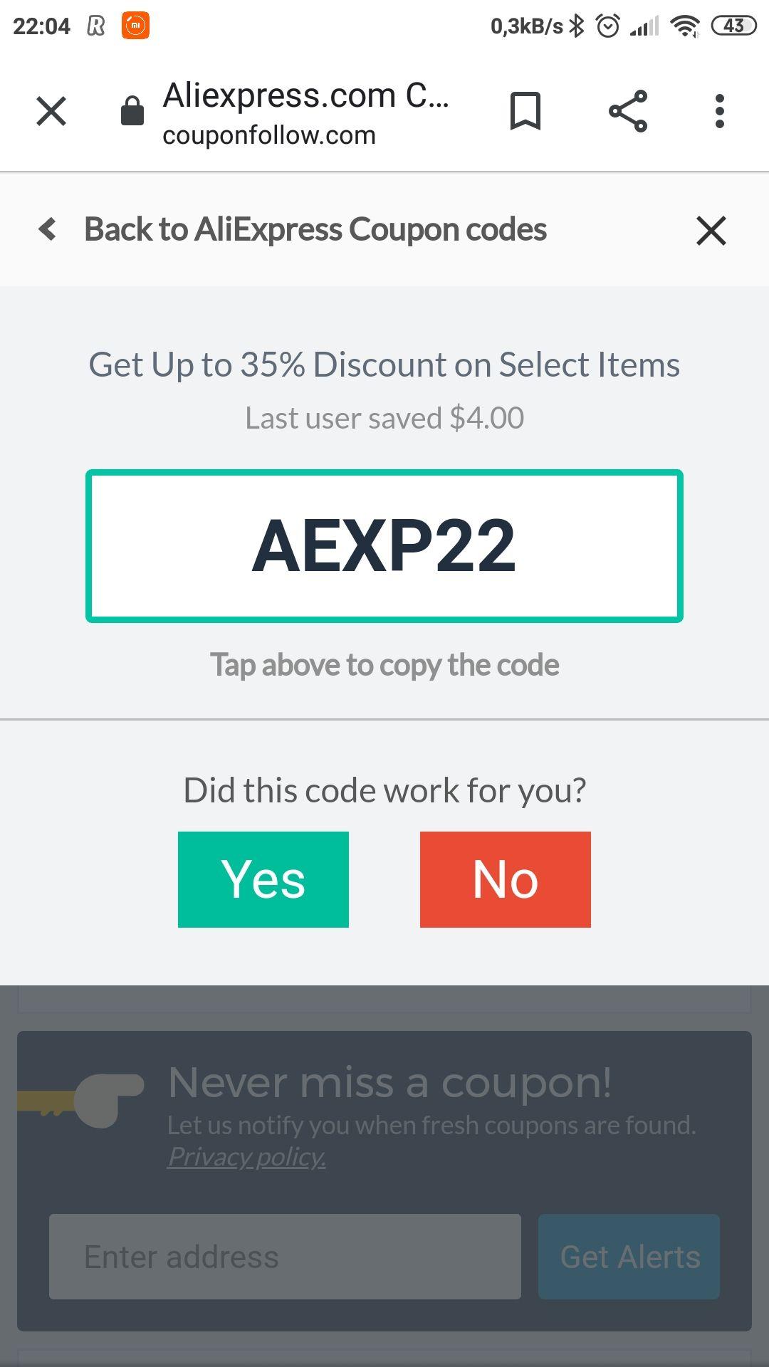 aliexpress.com kupon 4$