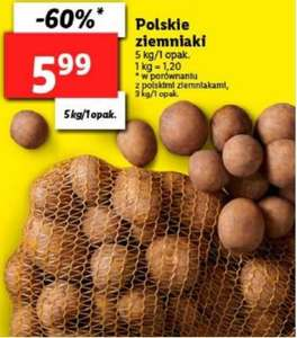 Polskie ziemniaki 5kg (1,20zl / kg) @ Lidl