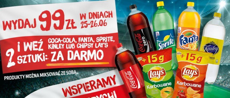Biedronka wydaj 99zł w dniach 25-26.06 i weź 2 sztuki coca-coli,fanta, sprite, kinlet lub chipsy Lays za darmo