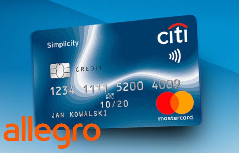 Bon 400zł na Allegro za założenie i korzystanie z karty kredytowej CITI Simplicity w Citibanku