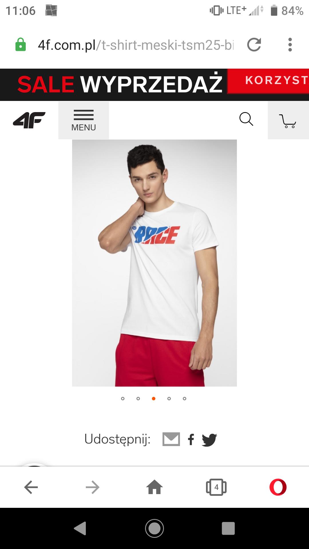 Tylko XXL. T-shirt 4F TSM225 z oficjalnej strony