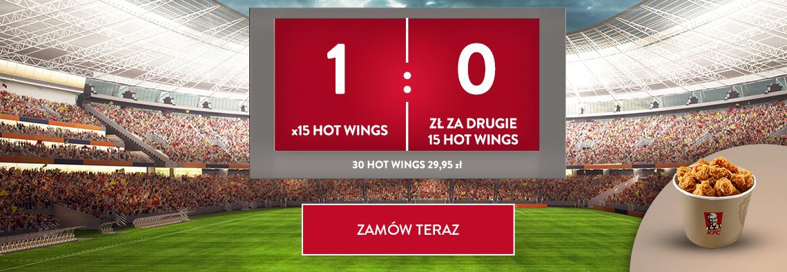 30 skrzydełek Hot Wings + 4x frytki/sałatka lub 8x dodatkowych skrzydełek @ KFC Dostawa