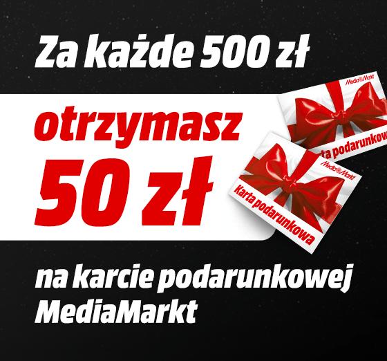 Mediamarkt karta podarunkowa 50 zł za każde wydane 500 zł za zamówienia w godzinach 21-9