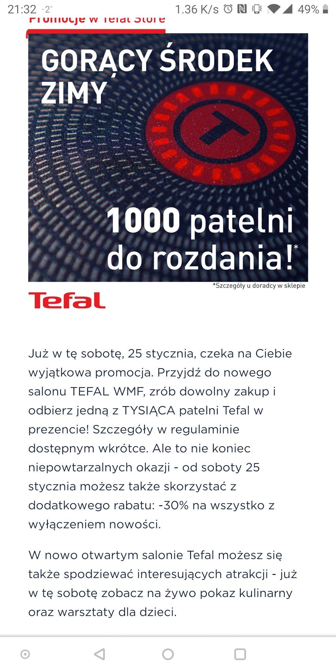 1000 patelni Tefal dla 1000 pierwszych klientów (Wrocław)