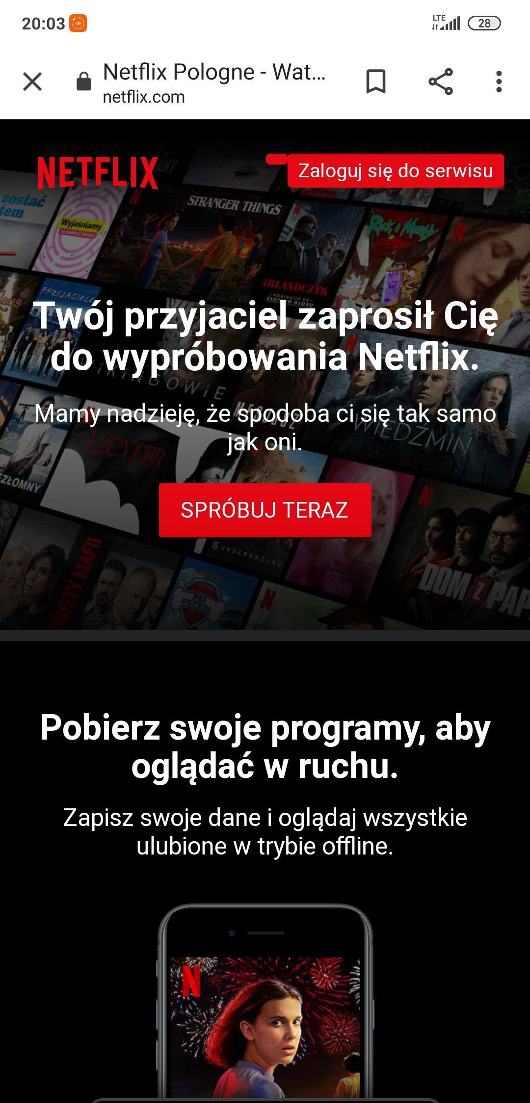 Netflix za darmo 30 dni z Polski