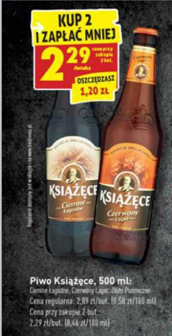 Piwo Książęce po 2,29zł przy zakupie 2szt. @Biedronka