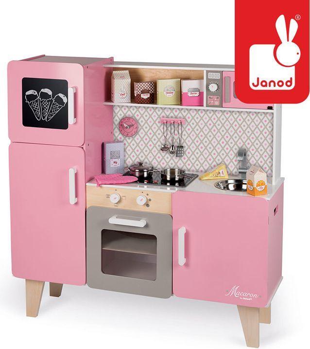 Zabawkowa kuchnia drewniana XL Janod J06571 z dźwiękiem i 15 akcesoriami Macaron