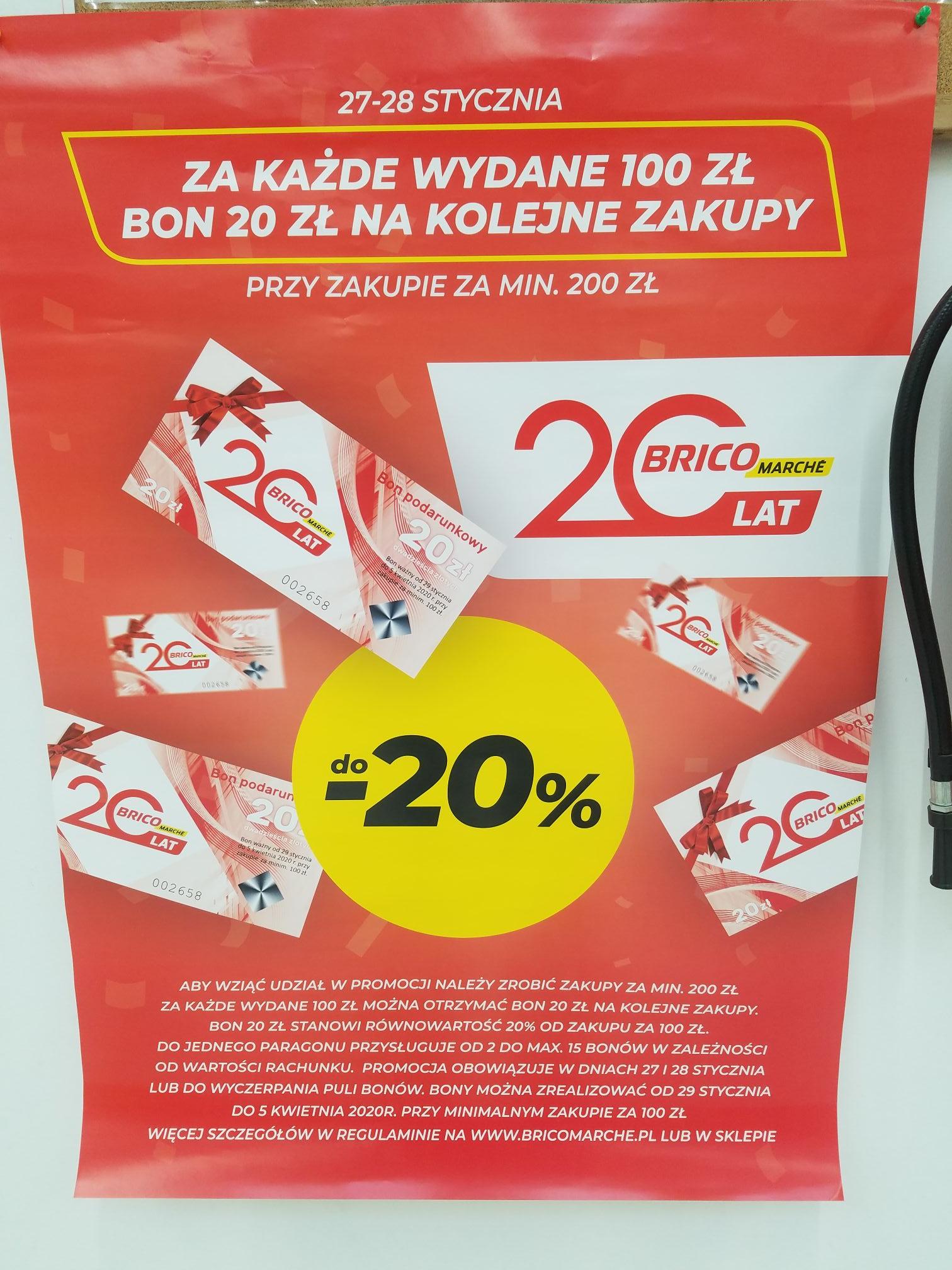 BRICOMARCHE Za kazde wydane 100zl bon o wartosci 20zl