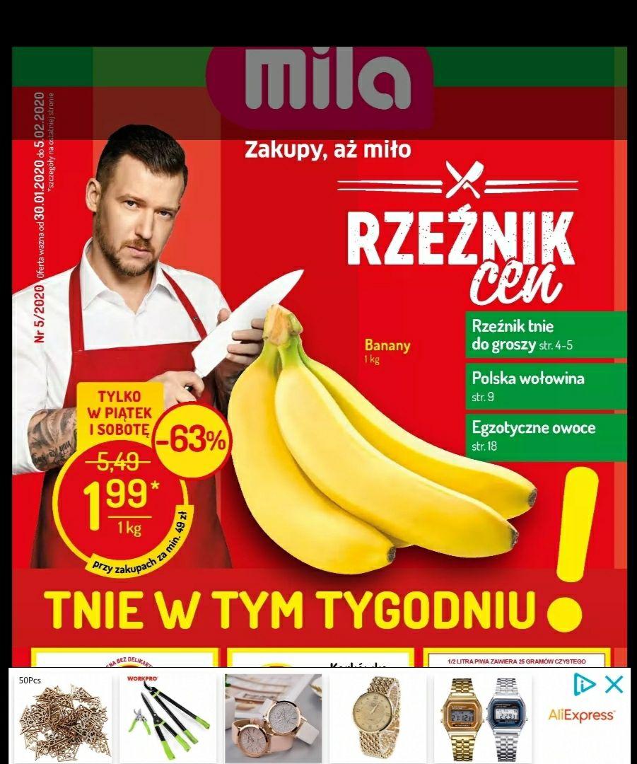 Mila - banany w piątek i sobotę za 1,99zl przy zakupach za min. 49zl