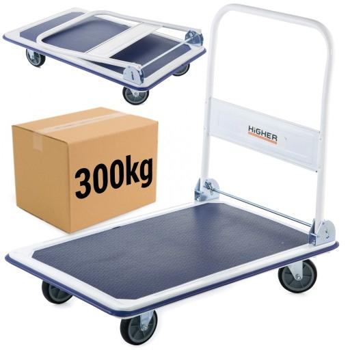 Wózek platformowy Higher, obciążenie max. 300kg, 4 kółka (2 skrętne), możliwe dodatkowo 8 allegrowych monet