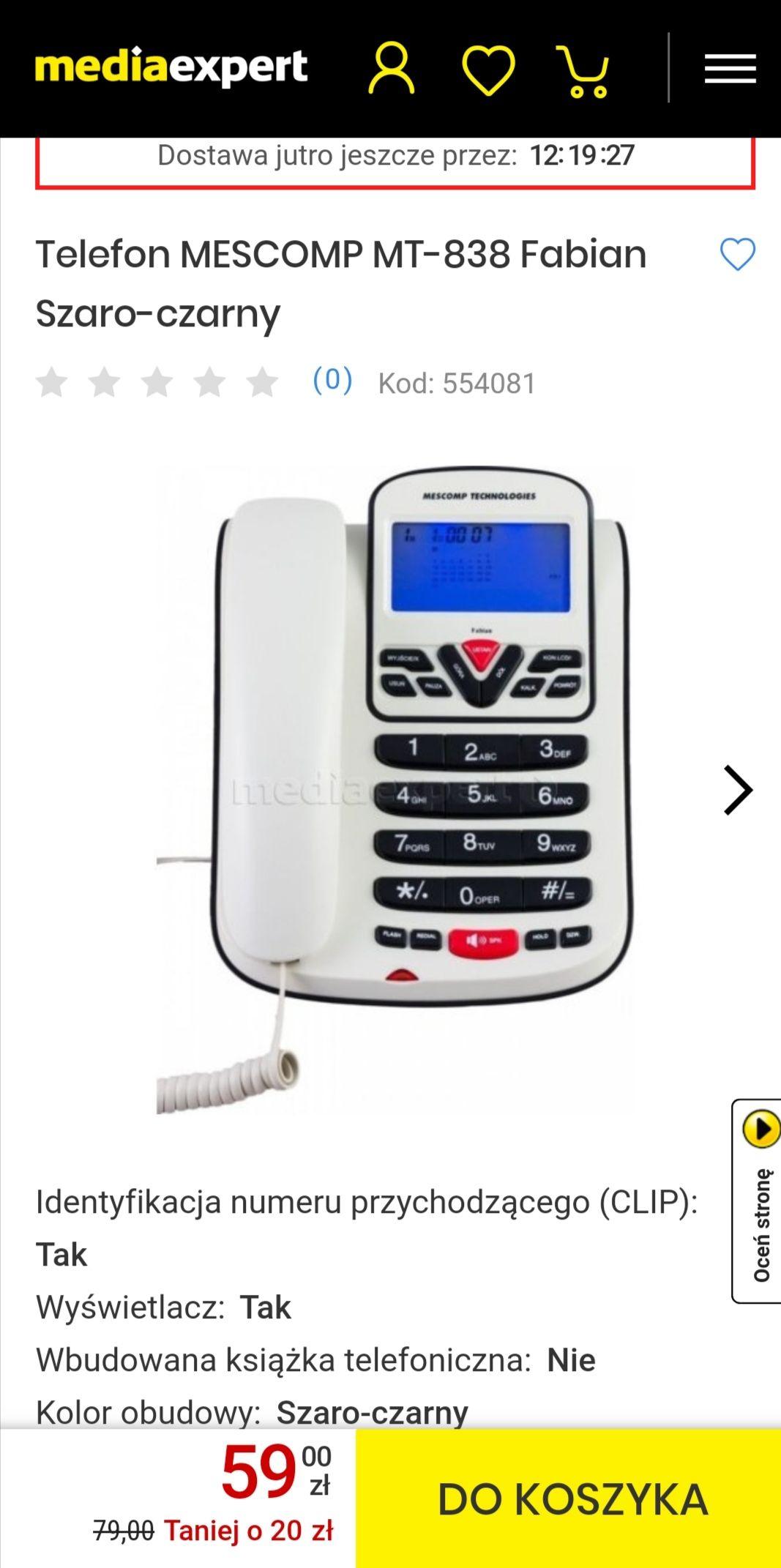 Tani telefon stacjonarny MESCOMP MT-838