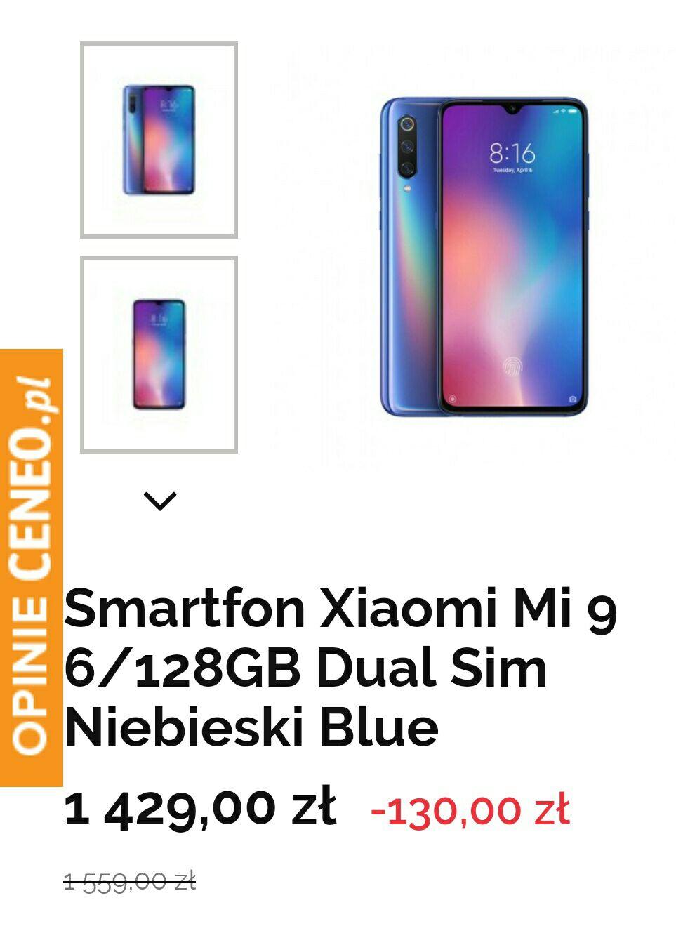 Xiaomi mi 9 6/128gb za 1429zl