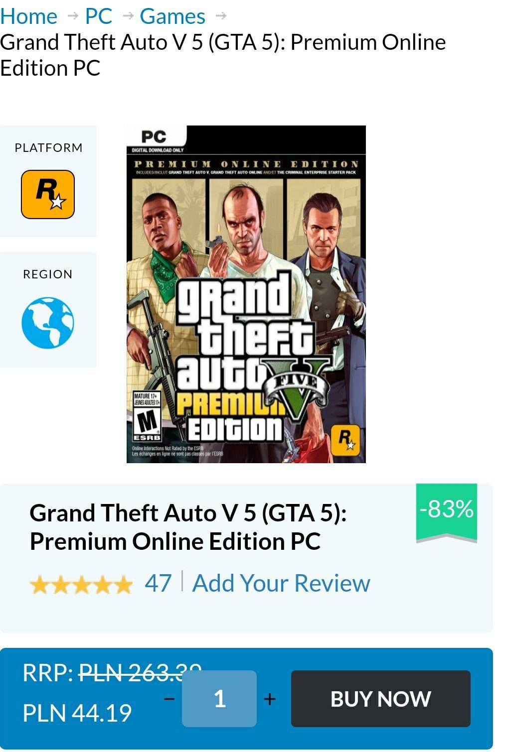 Grand Theft Auto V 5 (GTA 5): Premium Online Edition PC (7,99£)