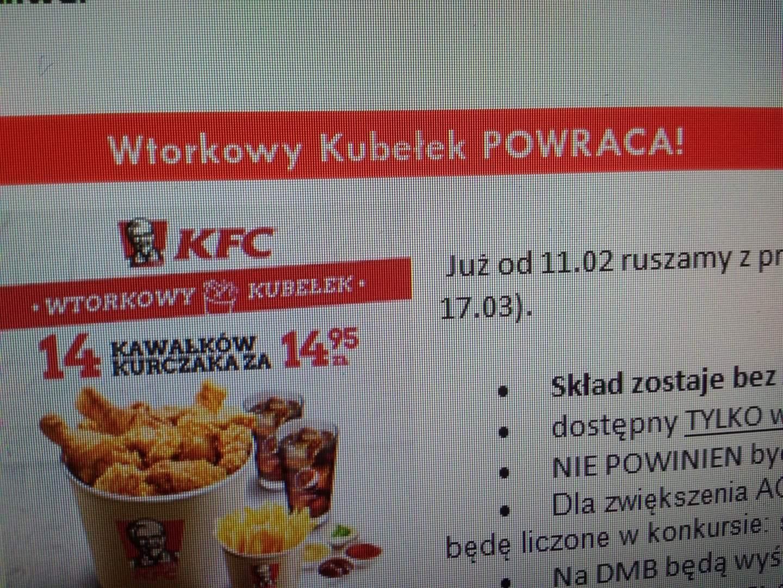 Powraca wtorkowy kubełek KFC. 14 kawałków za 14.95