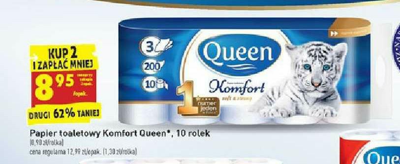 Biedronka Papier toaletowy Queen komfort 10 rolek przy zakupie 2 op.