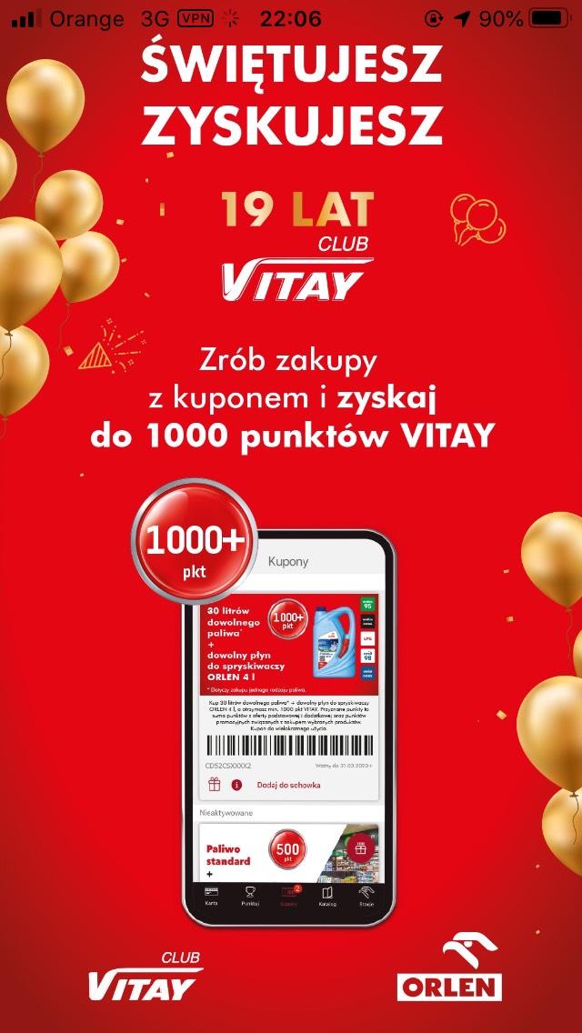 Kupony +1000pkt na 19lecie VITAY!