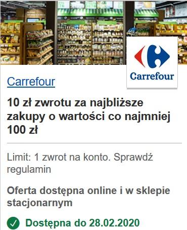 10 zł zwrotu w Carrefour za płatność kartą Visa (MWZ 100 zł) - z programu Visa Oferty (VisaOferty.pl - wszystkie banki)