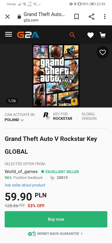 Grand Theft Auto V (GTA V) Rockstar Key