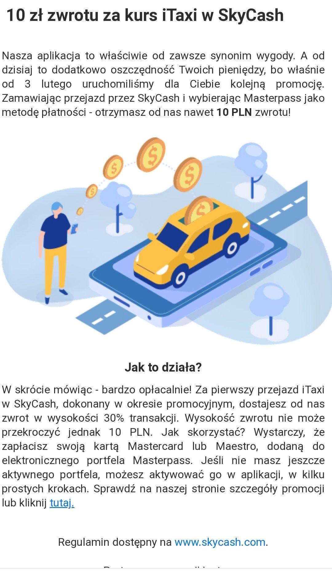 Skycash 30% ( max 10 zł) zwrotu za przejazd iTaxi z Masterpass.