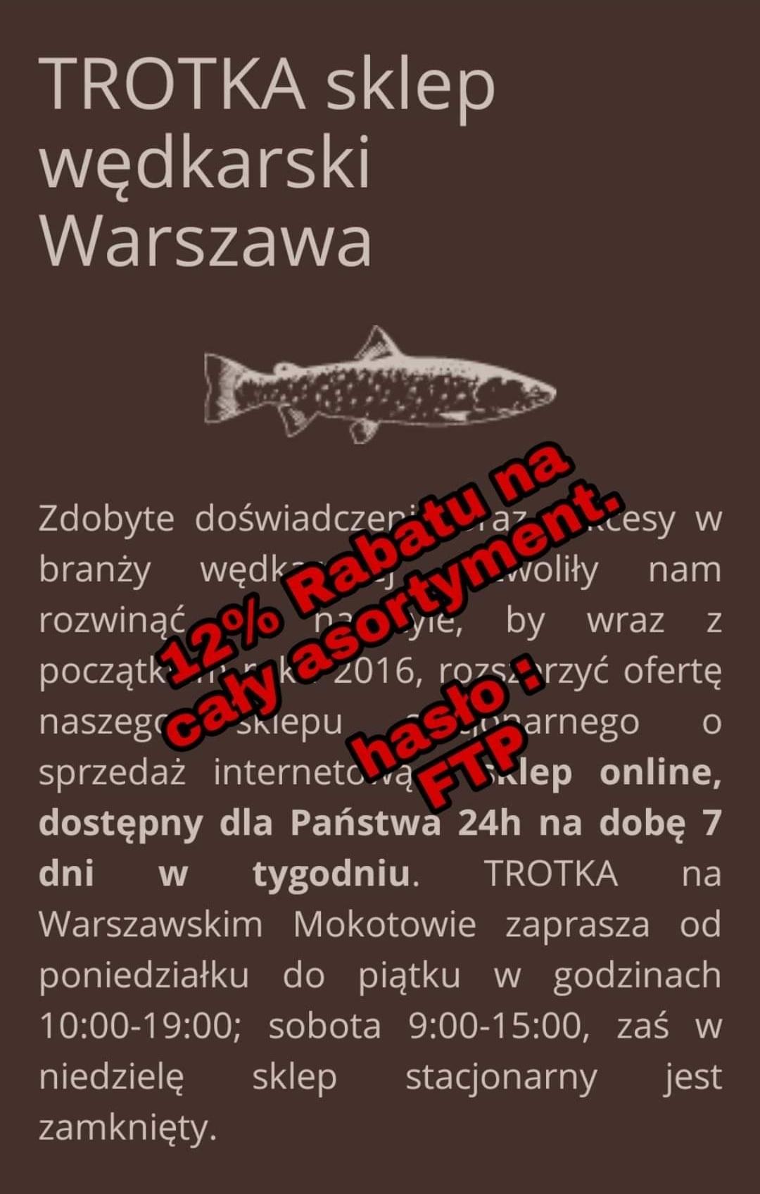 -12% CALY ASORTYMENT WĘDKARSKI TROTKA https://sklep-wedkarski.waw.pl/