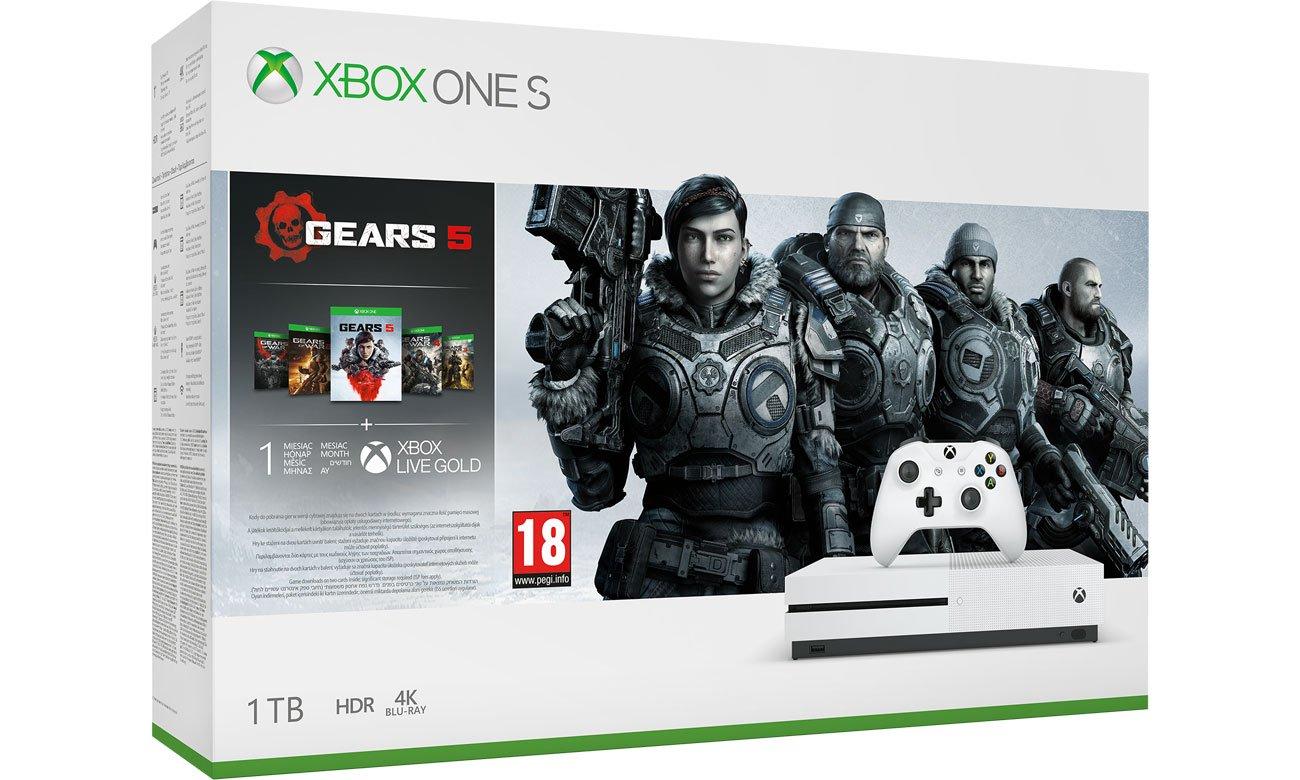 XBOX ONE S Z GOW5 (wszytskie części) +Abonament Xbox LIVE GOLD, Abonament Game Pass