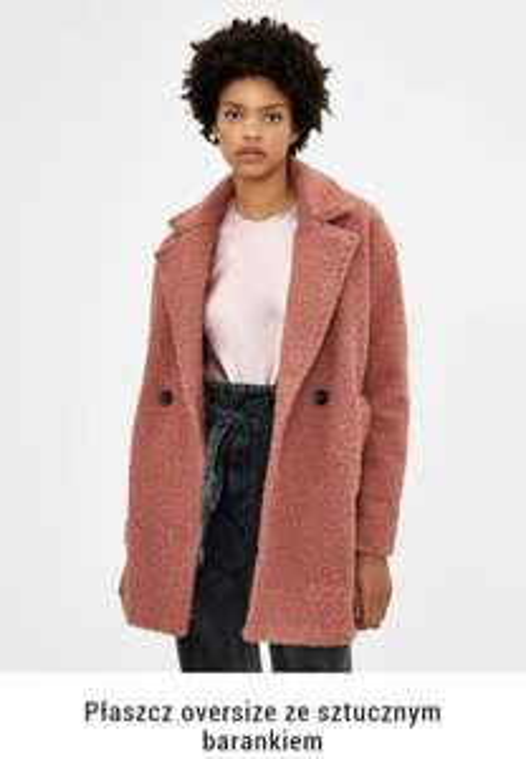 Bershka Damski płaszcz oversize ze sztucznym barankiem