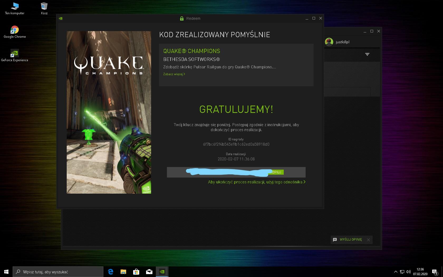 Nvidia Experience Darmowa Skórka do Quake Champions