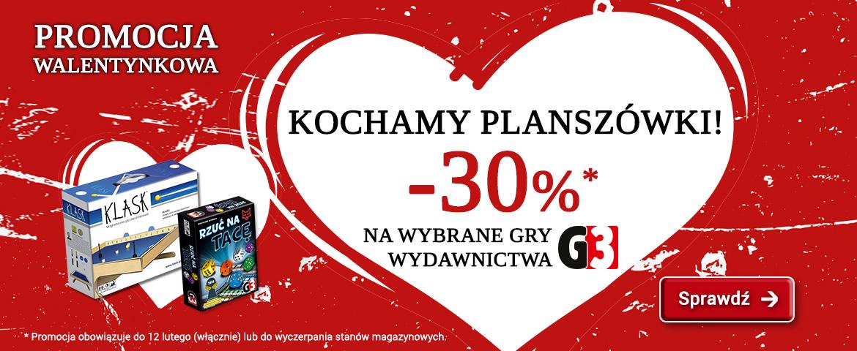- 30% na wybrane gry planszowe wydawnictwa G3 w sklepie gryplanszowe.pl