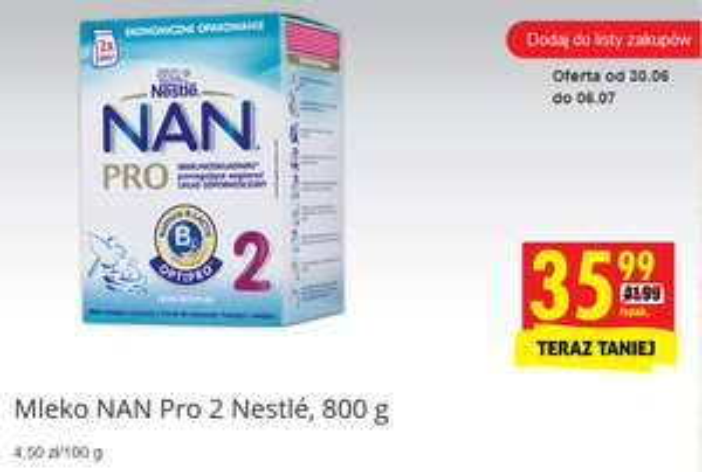 Mleko Nestle NAN (2) 800g za 35zł @ Biedronka