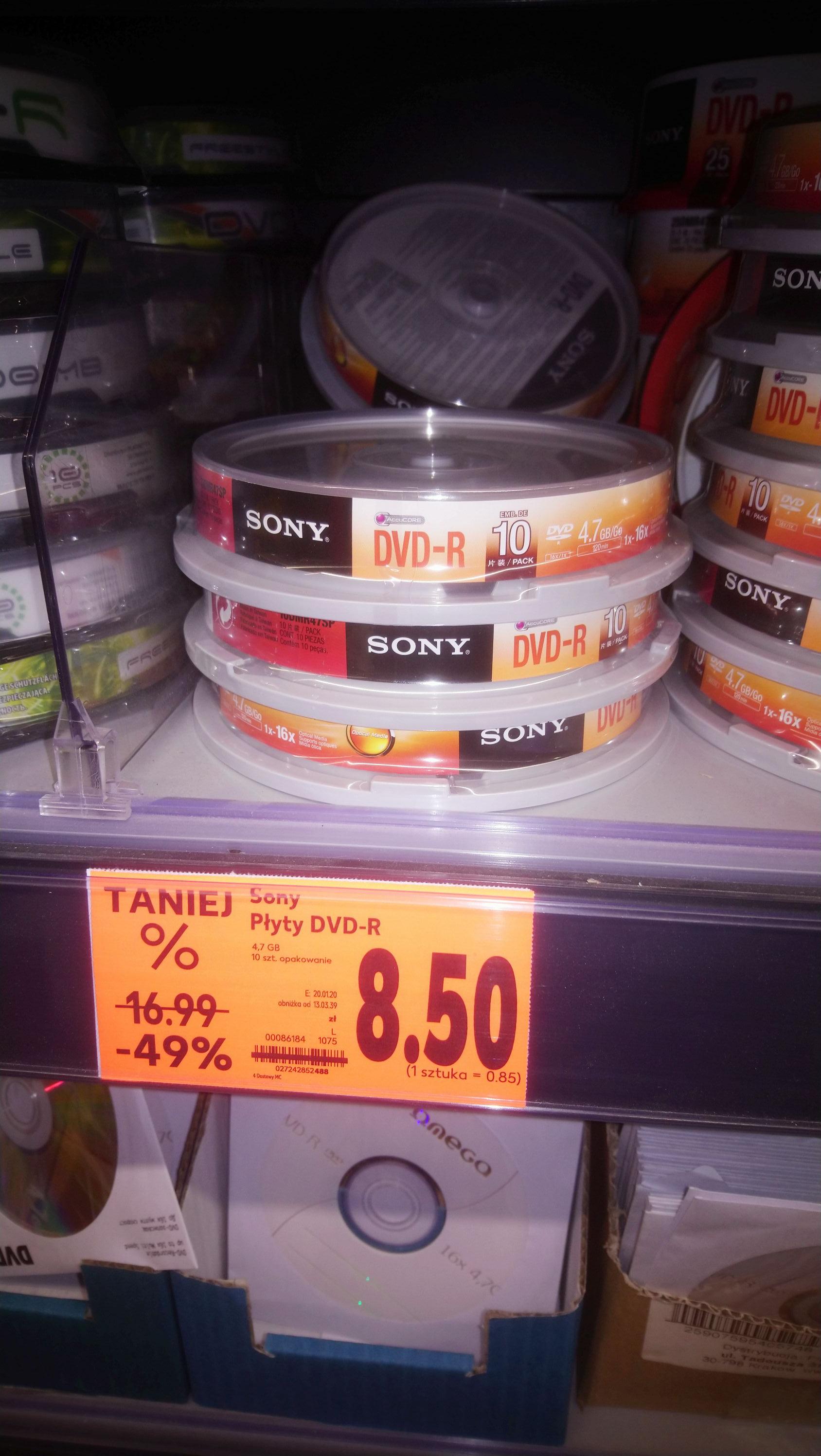 Puste płyty DVD-R/+R Sony 10szt Kaufland Siemianowice