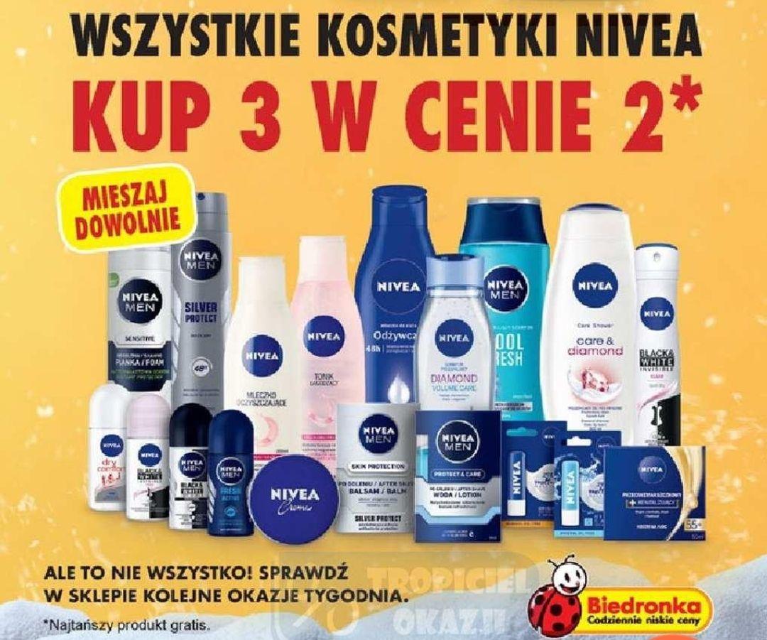Wszystkie kosmetyki Nivea 3 w cenie 2 - Biedronka