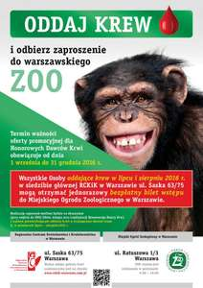 Oddaj krew i odbierz bilet do ZOO (Warszawa)