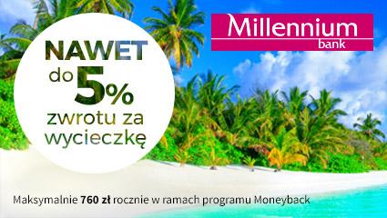 Travelplanet zyskaj do 5% dodatkowego zwrotu, płacąc kartą kredytową Millennium Impresja lub Alfa