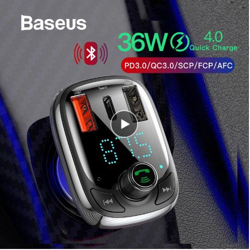 Baseus Transmiter FM Bluetooth Ładowarka QC 3.0 PD za 11,49$/45 zł z kuponem BASEUS154