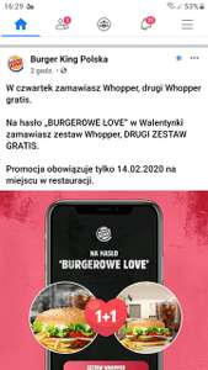 Drugi zestaw whooper gratis burger king