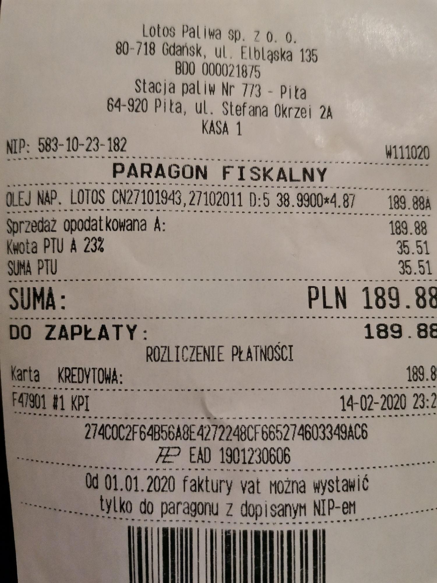 Olej napędowy ON 4,87 zł/L Lotos Optima Piła
