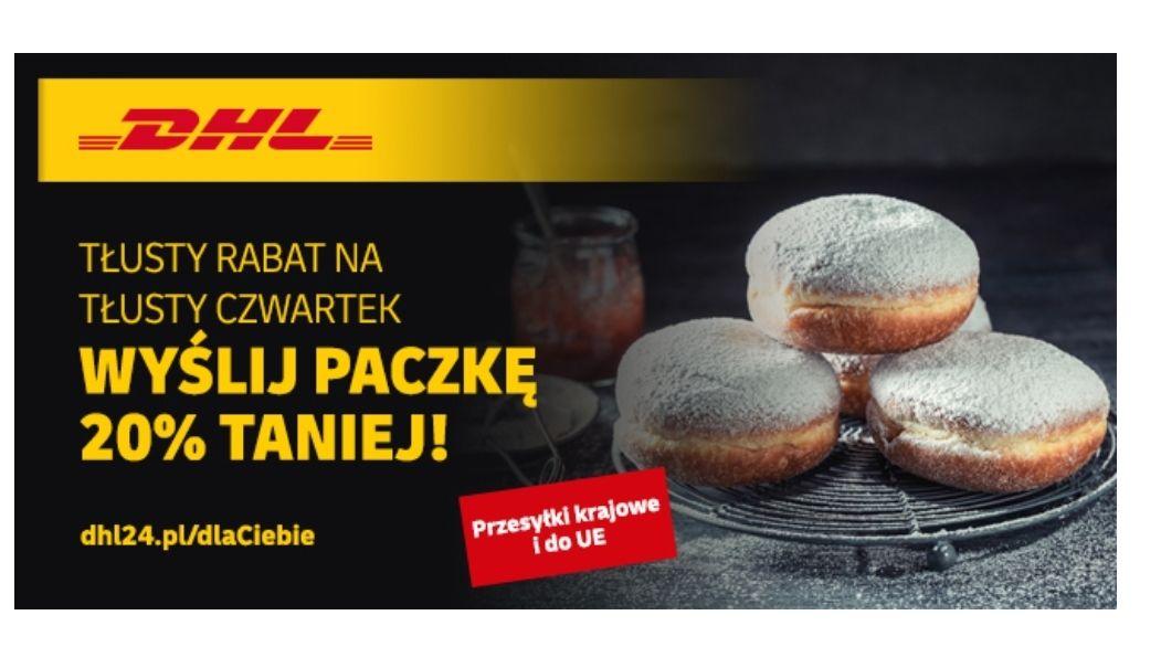 DHL -20% z okazji tłustego czwartu na paczki krajowe i międzynarodowe (UE) kurier