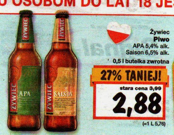 Piwo Żywiec APA i Saison za 2,88zł @ Kaufland