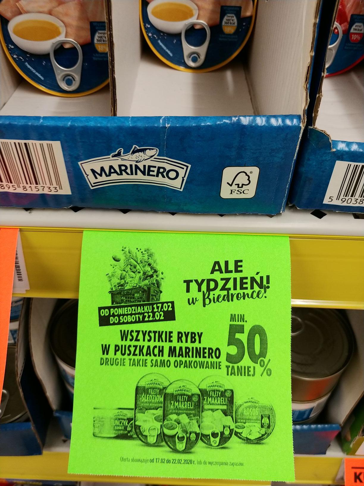 Wszystkie ryby w puszkach Marinero drugie takie samo opak. min. 50% taniej @Biedronka