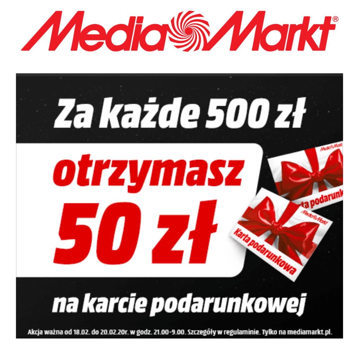 Media Markt - 50 zł na kartę podarunkową za każde wydane 500 zł
