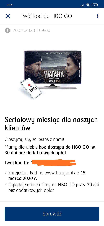 HBO GO za darmo na miesiąc dla klientów PKO BP